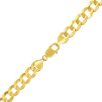10k Yellow Gold Mens Thick Solid Curb Cuban Link Chain Necklace, 0.4 Inch (10mm)