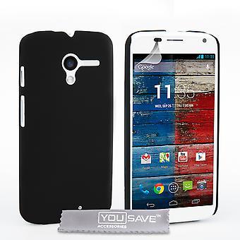 Yousave Accessories Motorola Moto X Hard Hybrid Case - Black