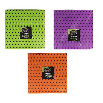 Halloween Spotty Pack of 24 Napkins Party Accessory