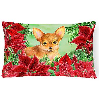 Toy Terrier Poinsettas Canvas Fabric Decorative Pillow