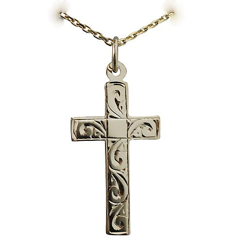 9ct Gold 24x14mm hand engraved flat latin Cross with a cable Chain 16 inches Only Suitable for Children
