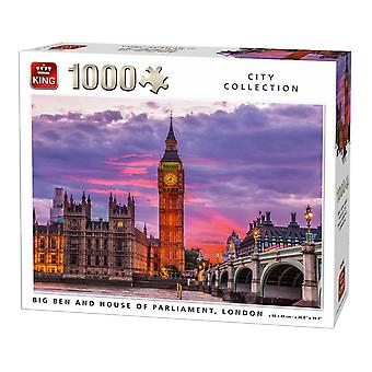 King Big Ben klokke og Parliament House London Jigsaw Puzzle (1000 stykker)