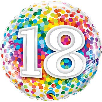 Foil balloon birthday number 18 confetti about 45 cm