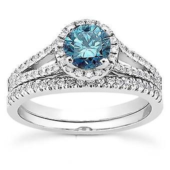 تقسيم 1 قيراط عرقوب خاتم الماس الأزرق ك 14 مجموعة الذهب الأبيض