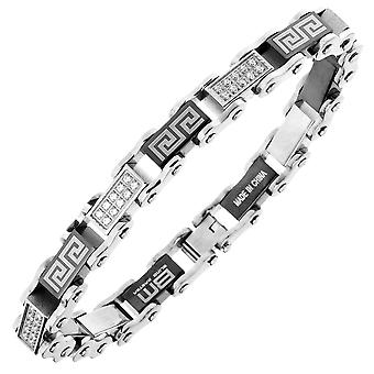 Iced Out Edelstahl Micro Pave CZ Armband - 10mm silber