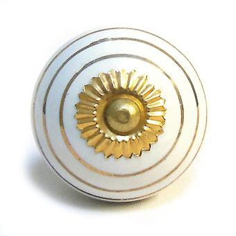 White & Gold Stripes Ceramic Cupboard Knob