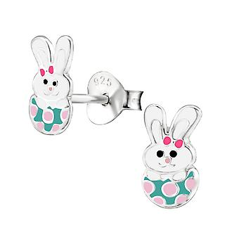 Rabbit - 925 Sterling Silver Colourful Ear Studs