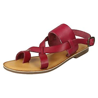 Ladies Leather Collection Toeloop Sandals F00127 - Red Leather - UK Size 4 - EU Size 37 - US Size 6