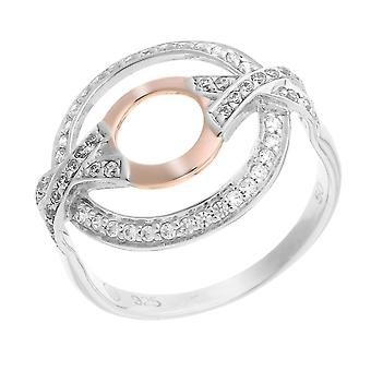Orphelia Silver 925 Ring White/Rose Double Circle X  Zirconium   ZR-7095/1