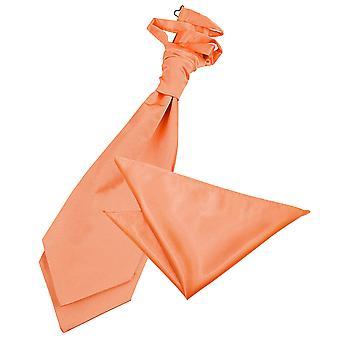 Cravate Satin mariage plaine corail & mouchoir de poche Set