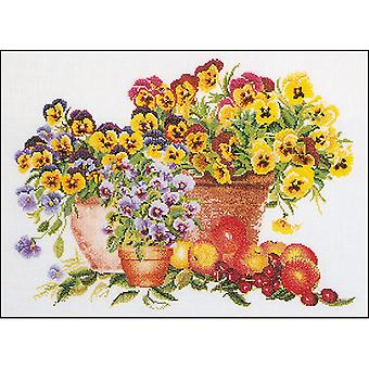 Pansies On Aida Counted Cross Stitch Kit-15.75