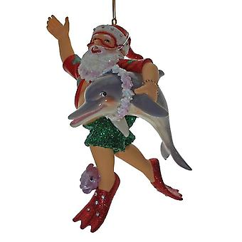 December Diamonds Diver Sea Diving Santa with Dolphin Christmas Ornament