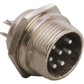 Mini DIN connector Plug, vertical mount Number of pins: 7 Silver BKL Electronic 0206016 1 pc(s)