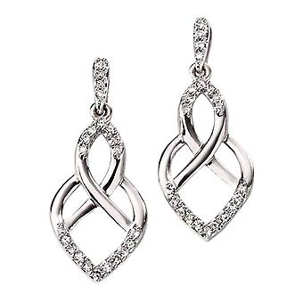 Elements Gold Diamond Openwork Drop Earrings - White Gold/Clear