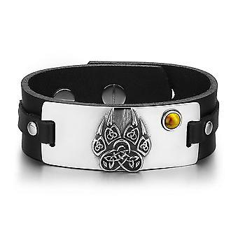 Aztecs Ancient Celtic Knots Wolf Paw Amulet Tiger Eye Gemstone Adjustable Black Leather Bracelet