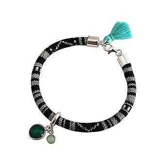 Gemshine - Damen - Armband - 925 Silber - AZTEC - Smaragd - Chalcedon - Grün - Meeresgrün