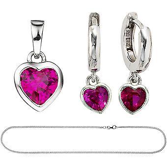 Kids meisjes roze roze 925 zilver zirconia ketting sieraden set hart 38 cm