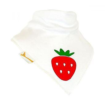 White & Red Strawberry Bandana Bib