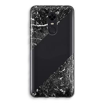 Xiaomi Redmi 5 Transparent Case (Soft) - Black marble