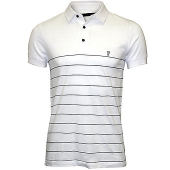 French Connection Striped Pique Polo Shirt, White/navy