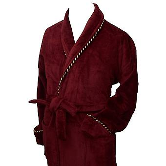 Bown of London Earl Cotton Velour Dressing Gown - Burgundy