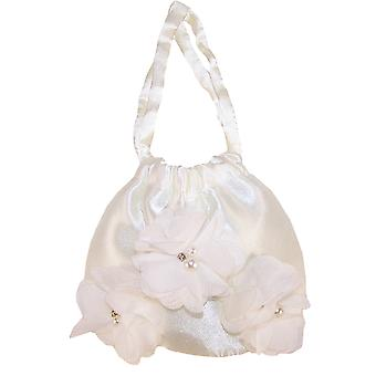 Girls ivory satin drawstring handbag