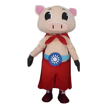 mascot pig SPOTSOUND rose, with pants and a cape