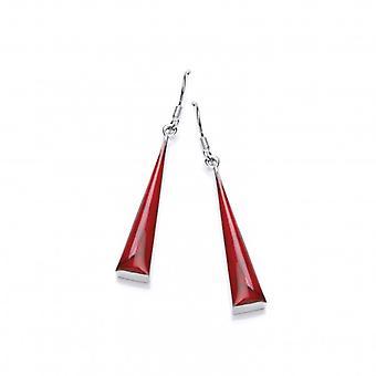 Cavendish francés plata y jaspe rojo formado triángulo largo pendientes
