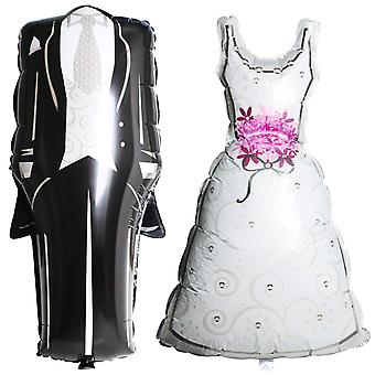 TRIXES Pair of Bride and Groom Foil Wedding Balloons –Black Suit and Bridal Dress White