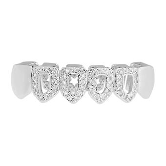 One size fits all bottom Grillz - CUBIC ZIRCONIA open
