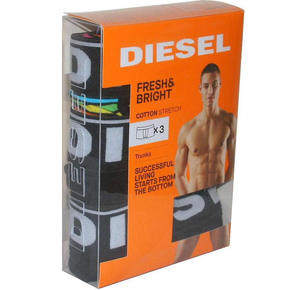 Diesel 3-Pack Rainbow Stripe & Solid Boxer Trunks, Multi/Black