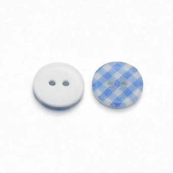 Pacote 10 x azul/branco resina 13mm rodada 2-furos estampada coser botões HA14365