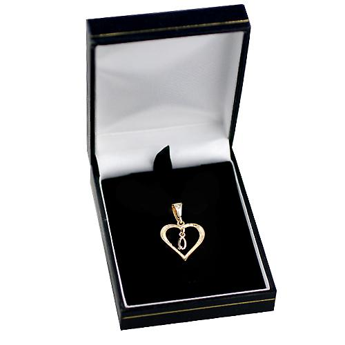 9ct Gold 18x18mm heart Pendant with a hanging Initial Q