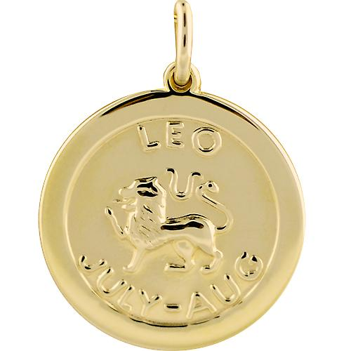 9ct Gold 22mm round Zodiac disc Leo