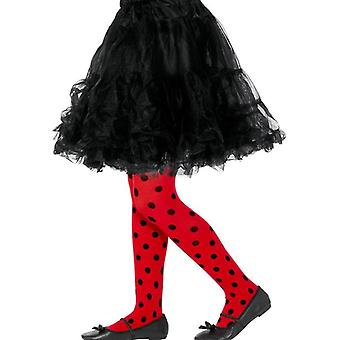 Ladybird Spot Tights, Childs, Red & Black Fancy Dress Accessory