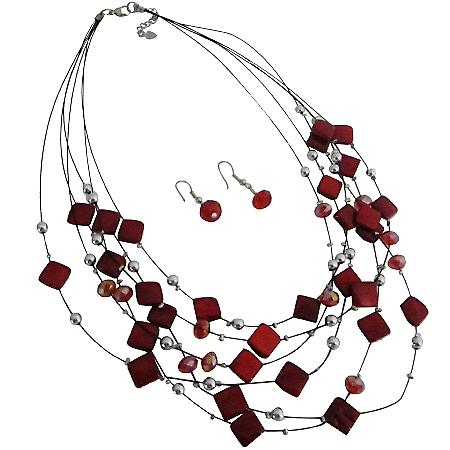 Multi Strand Necklace With Red Fancy Silver Beads Necklace Earrings BridesmaidJewelry