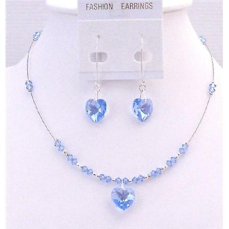Lite Sapphire Crystals Heart Pendant Earrings Valentine Gift Jewelry