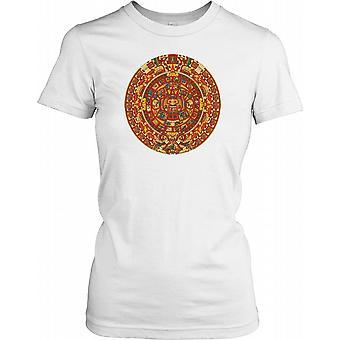 Aztekiske kalenderen i farge damer T skjorte