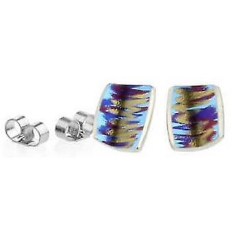 Ti2 Titanium Small Sratch Art Stud Earrings - Pink