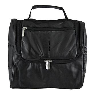 Black Leather Hanging Toiletry Bag Shaving Shave Travel