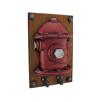الخشب الأحمر الإطفاء معدنية جدار اللوحة w/خطاف