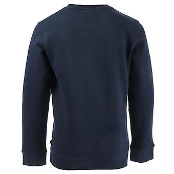 Junior Boys Money I Love Money Crew Sweat In Navy- Ribbed Cuffs, Hem And Collar-