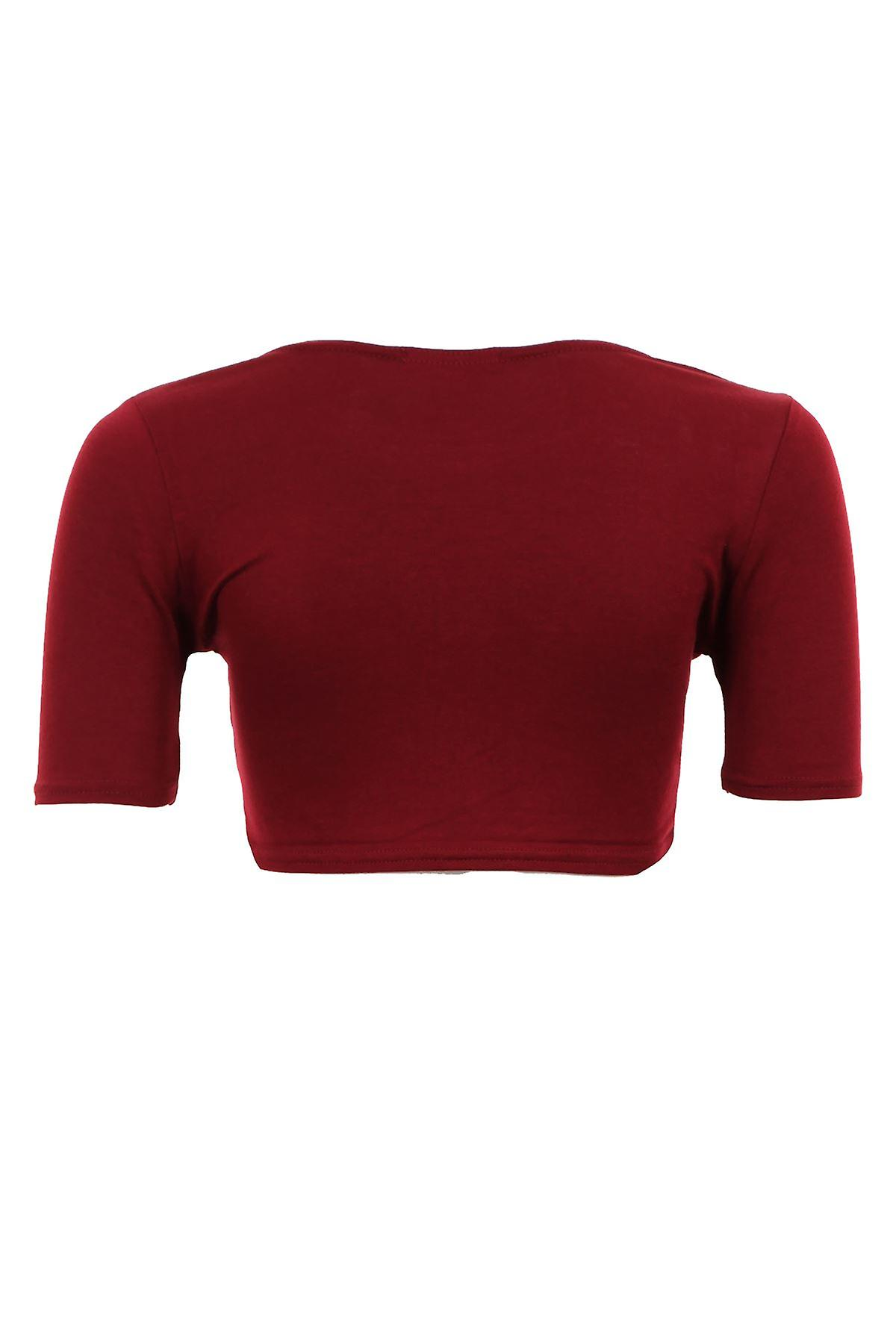 New Ladies Short Sleeve Plain Coloured Cropped Blouse Women's Top