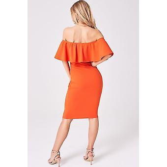 Girls on Film Candice Orange Ruffle Bardot Bodycon Dress