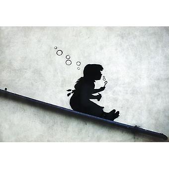 Chica graffiti de Banksy poster deslizante pequeño formato de burbujas