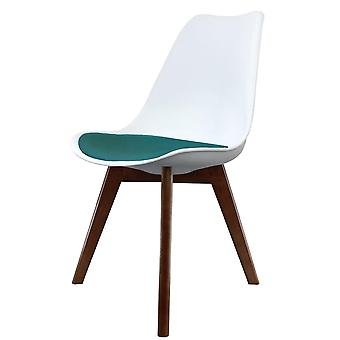 Fusion Living Eiffel Inspired White And Teal Dining Chair With Squared Dark Wood Legs