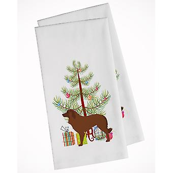 Portuguese Sheepdog Dog Merry Christmas Tree White Kitchen Towel Set of 2
