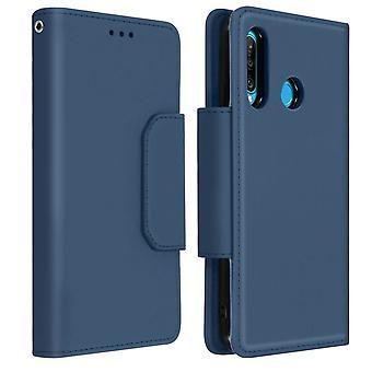 Magnetic Detachable Wallet Folio Case for Huawei P30 Lite - Dark Blue