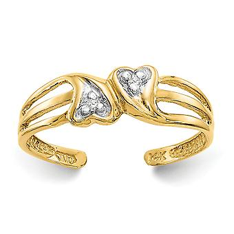 14k Yellow Gold Polished Double Heart .02ct Diamond Toe Ring - .02 dwt