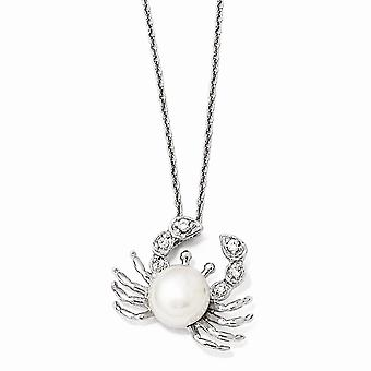 925 Sterling Silver Rhodium-plated Fancy Lobster Closure Cubic Zirconia Freshwater Cultured Crab Pearl Necklace - 18 Inc
